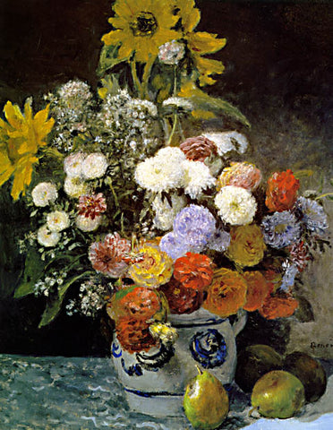 Pierre Auguste Renoir-Mixed Flowers In An Earthenware Pot 1869