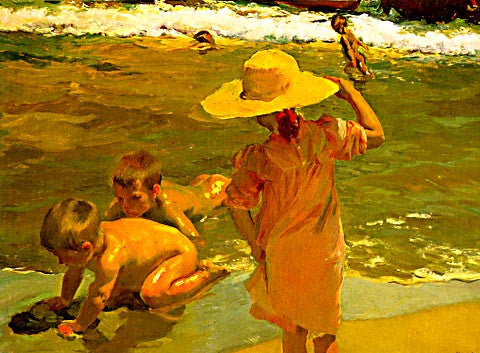 Joaquin Sorolla-Children At The Beach I