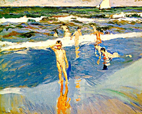 Joaquin Sorolla-Children At The Beach II