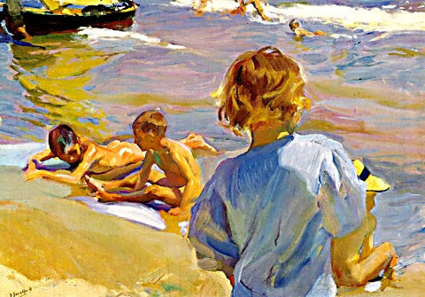 Joaquin Sorolla-Children At The Beach III