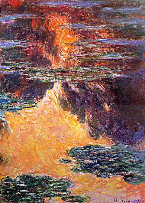 Claude Monet-Nympheas Sunset Effect