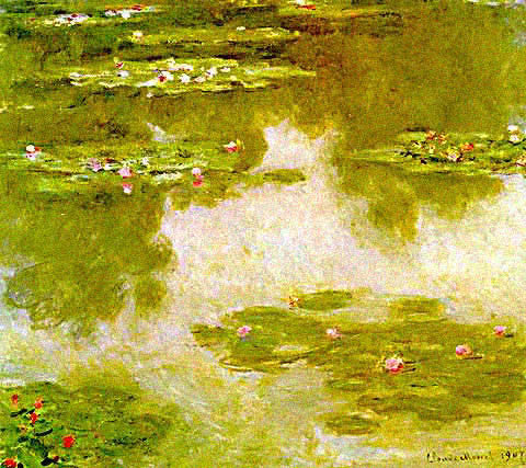 Claude Monet-Nympheas Water Lilies Sky Reflection