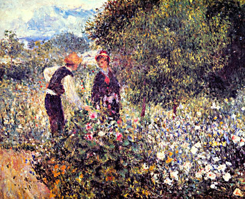 Pierre Auguste Renoir-Picking Flowers 1875