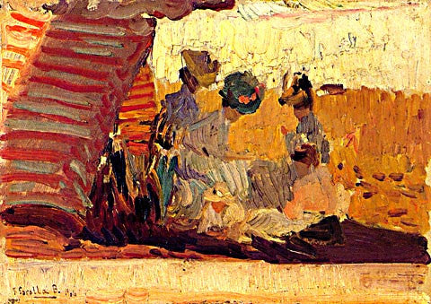 Joaquin Sorolla-At Biarritz Beach