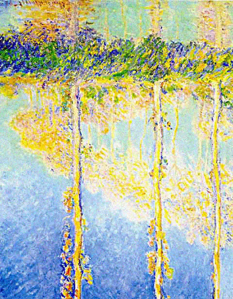 Claude Monet-Poplars Water Reflections