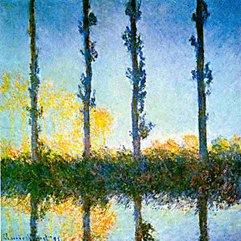 Claude Monet-Poplars Early Morning