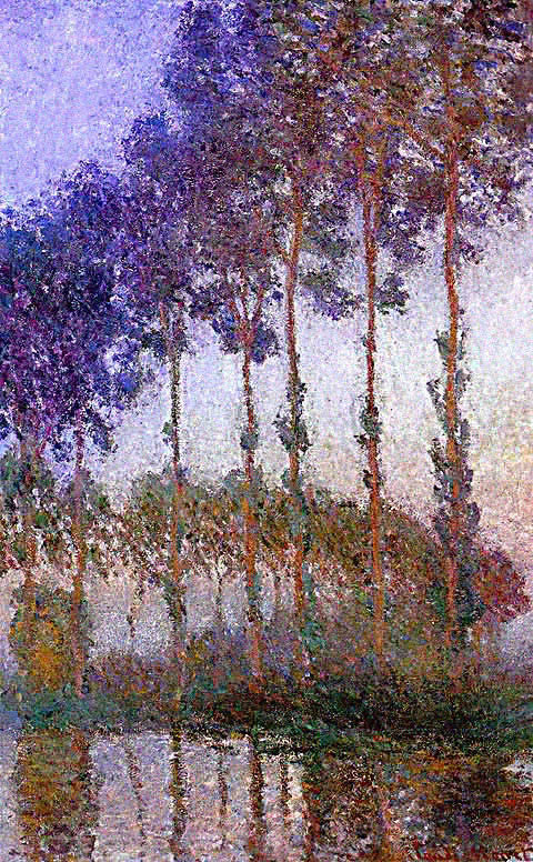 Claude Monet-Poplars on the Banks of the River Epte at Dusk