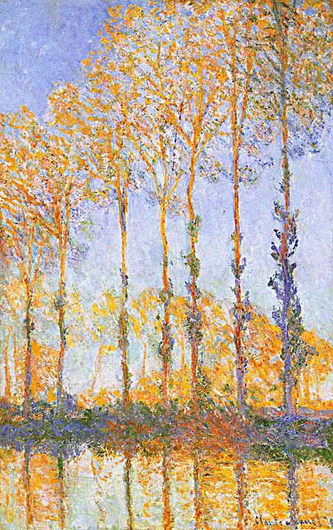Claude Monet-Poplars White and Yellow Effect