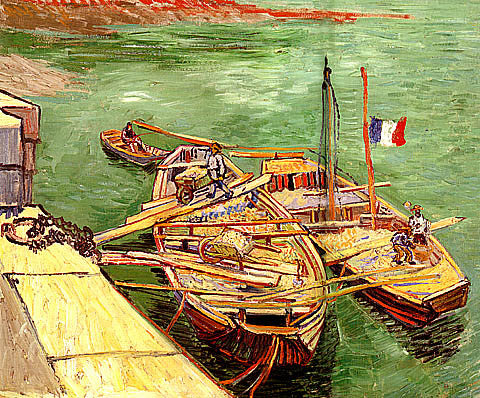 Vincent Van Gogh-Quay With Men Unloading Sand Barges