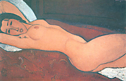 Amadeo Modigliani-Reclining Nude With Hands Behind Her Head