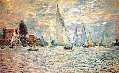 Claude Monet-Regatta at Argenteuil Sun Effect