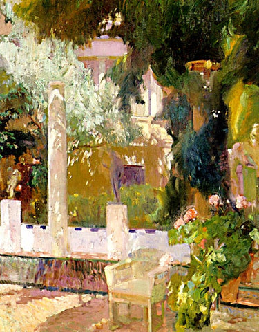 Joaquin Sorolla-Rose Garden At Sorollas Home