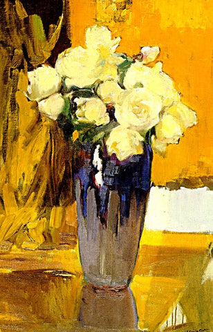 Joaquin Sorolla-White Roses In A Glass