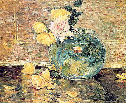 Childe Hassam-Roses In A Vase
