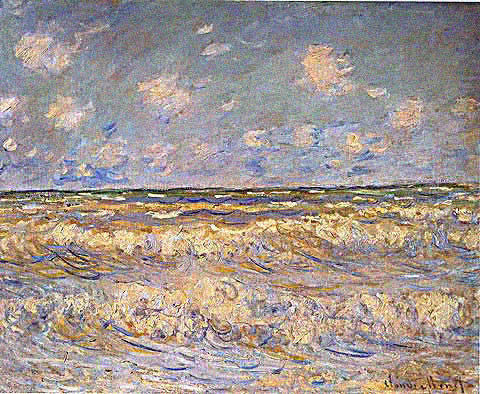 Claude Monet-Rough Sea  View From The Beach