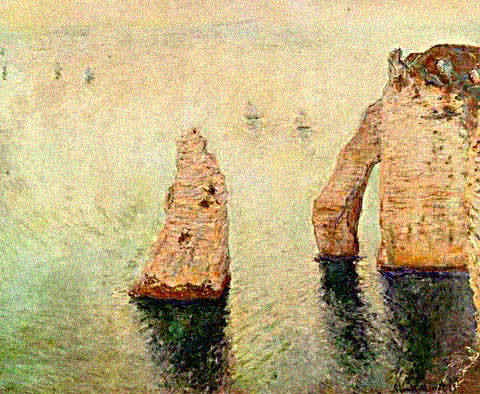 Claude Monet-Sailboats off the Needle at Etreat