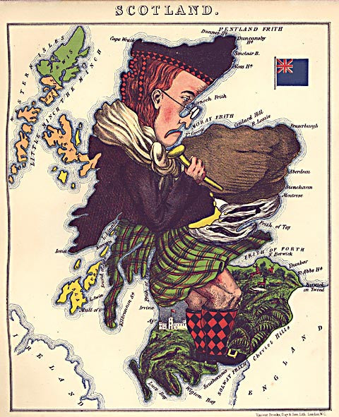 Unknown Artist-Scotland Caricature Map