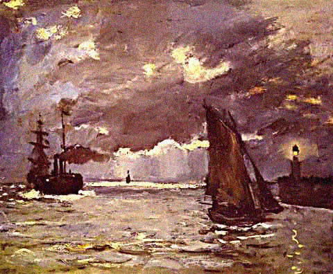 Claude Monet-Seascape Night Effect