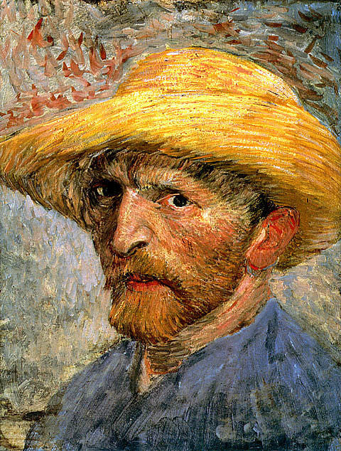 Vincent Van Gogh-Self Portrait With Straw Hat and Blue Shirt