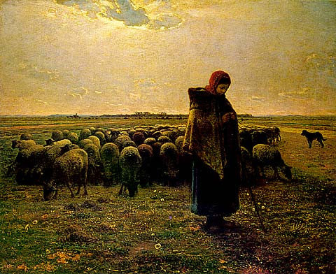 Jean Francois Millet-Shepherdess With Her Flock