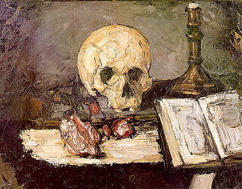 Paul Cezanne-Skull And Candlestick