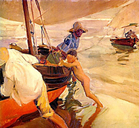 Joaquin Sorolla-Morning Sun At The Beach