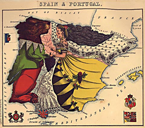 Unknown Artist-Spain And Portugal Caricature Map