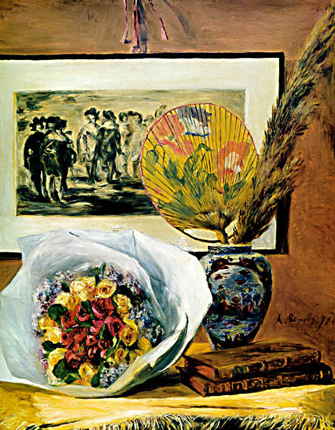 Pierre Auguste Renoir-Still Life With Bouquet And Fan 1871