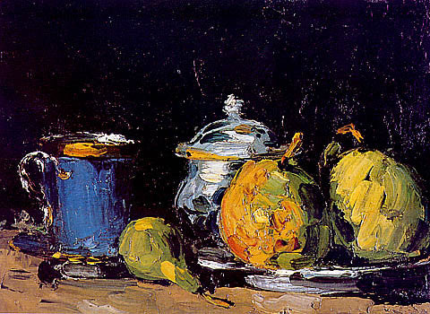Paul Cezanne-Sugar Bowl Pears And Blue Cup