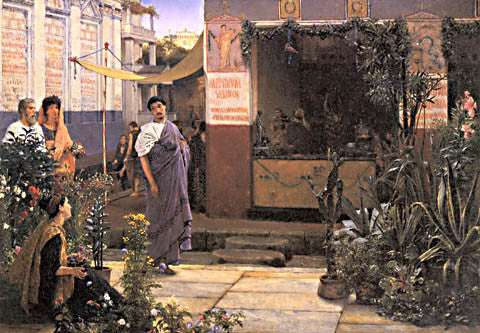 S. L. Alma-Tadema-The Flower Market 1868
