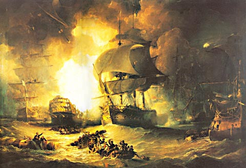 George Arnald-The French Ship LOrient At The Battle Of The Nile 1798