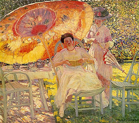 Frederick Frieseke-The Garden Parasol