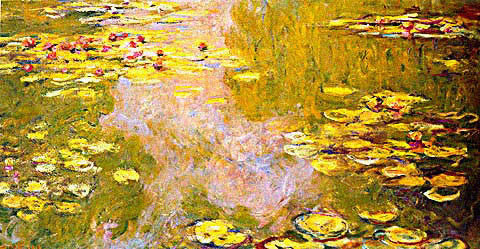 Claude Monet-The Water Lily Pond Bright Setting Sun