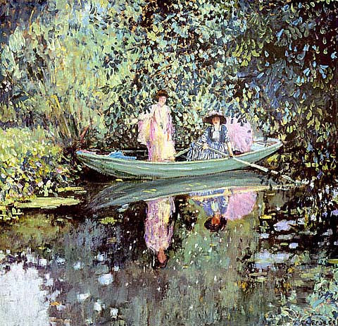 Frederick Frieseke-Two Ladies In A Boat