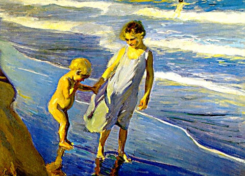 Joaquin Sorolla-Two Sisters At The Beach