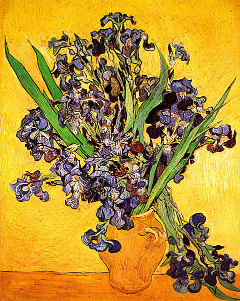 Vincent Van Gogh-Vase With Violet Irises Against A Yellow Background