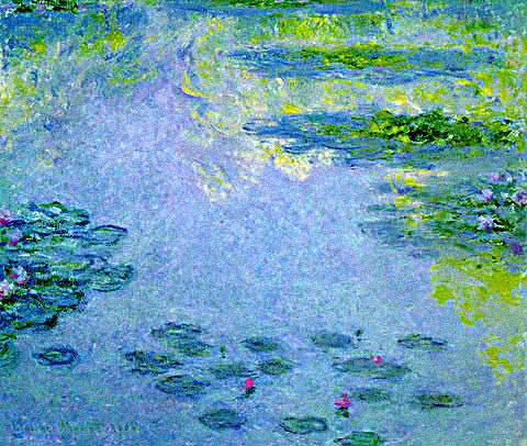 Claude Monet-Waterlilies Greens and Blues