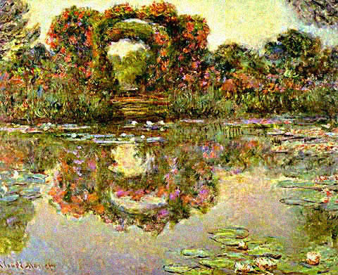Claude Monet-Waterlilies With The Flowers Arch