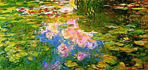 Claude Monet-Waterlilies Pink Sky
