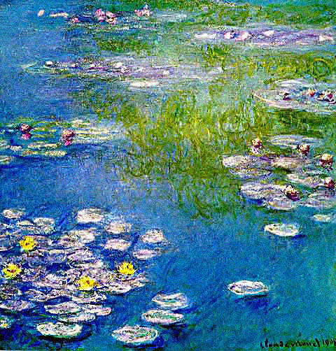 Claude Monet-Waterlilies Blue Pink and Green