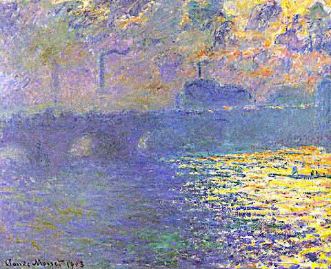 Claude Monet-Waterloo Bridge Water Reflections