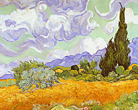 Vincent Van Gogh-Wheat Field With Cypresses