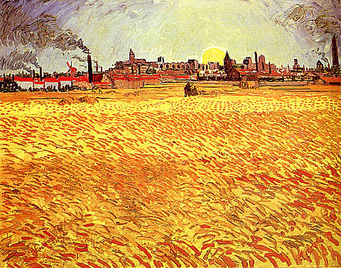 Vincent Van Gogh-Wheat Field With Rising Sun