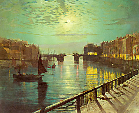 John Atkinson Grimshaw-Whitby Harbor By Moonlight 1867
