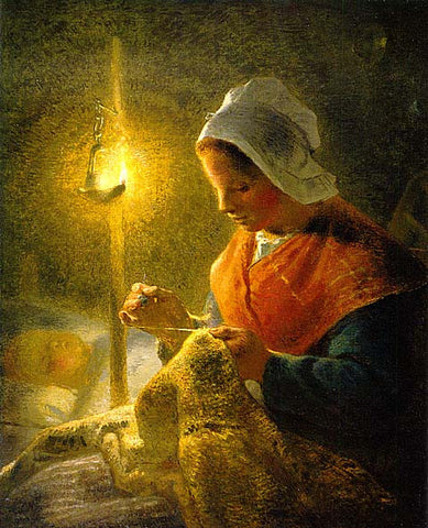 Jean Francois Millet-Woman Sewing By Lamplight