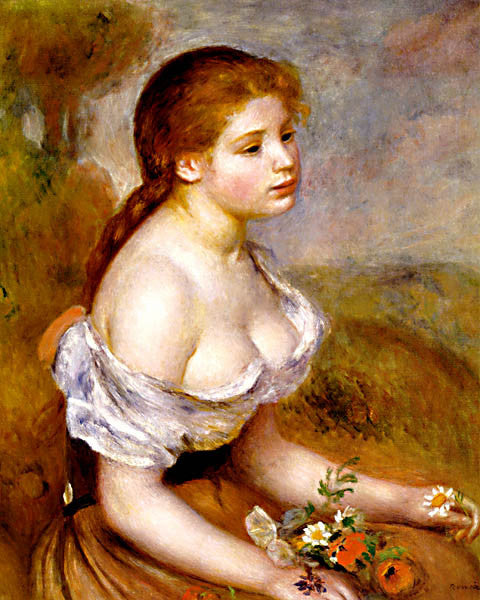 Pierre Auguste Renoir-Young Girl With Daisies 1889