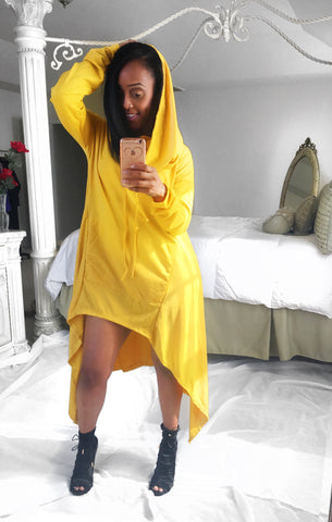 London Oversized Hooded Cape (Yellow)