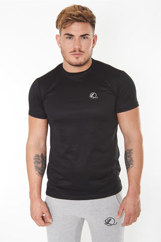 Lombordy Long Length Curved Hem Tee - Black - Lombordy