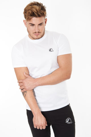 Lombordy Long Length Curved Hem Tee - White - Lombordy