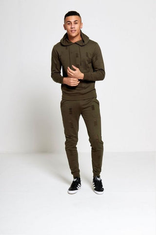 Lombordy Signature Destroyed Hooded Tracksuit - Burnt Olive - Lombordy